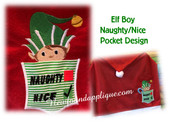 In the hoop Elf Boy Naughty Nice Pocket Embroidery Machine Design
