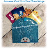 In The Hoop Snowman Card Coin Purse Case  Embroidery Machine Design