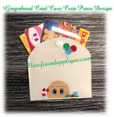 In The Hoop Gingerbread Card Coin Purse Case  Embroidery Machine Design