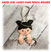 In The Hoop Angel Girl Candy Cane Pencil Holder Embroidery Machine Design