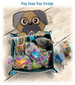 In The Hoop Pug Peeker Snap Tray Embroidery Machine Design