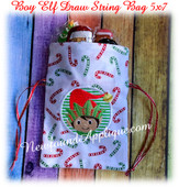 In The Hoop Elf Boy Draw String Bag 5x7 Embroidery Machine Design