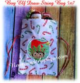 In The Hoop Elf Boy Draw String Bag 5x7 Embroidery Machine Design