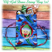 In The Hoop Elf Girl Draw String Bag 5x7 Embroidery Machine Design