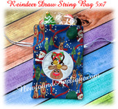 In The Hoop Reindeer Draw String Bag 5x7 Embroidery Machine Design