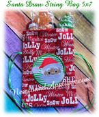 In The Hoop Santa Draw String Bag 5x7 Embroidery Machine Design