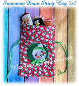 In The Hoop Snowman Draw String Bag 5x7 Embroidery Machine Design
