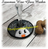 In The Hoop Wine Glass Marker Snowman Embroidery Machine Design