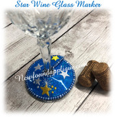 IN The Hoop Wine Glass Marker Star Embroidery Machine Design