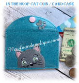 In The Hoop Cat Card Coin Case Embroidery Machine Design