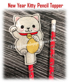 In The Hoop New Years Chinese Kitty Pencil Topper EMbroidery Machine Design
