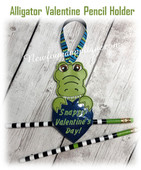 In The Hoop Alligator Valentine Pencil Holder EMbroidery Machine Design