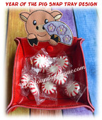 In The Hoop Chinese New Year Pig Snap Tray Embroidery Machine Design
