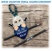 In The Hoop Ninja Valentine Pencil Holder Embroidery Machine Design