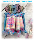 In The Hoop Sweet Heart Snap Tray Embroidery Machine Design Set