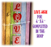 InThe Hoop Love Sign Embroidery Machine Design Set For 4x4 hoop