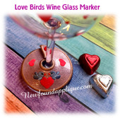 In The Hoop Love Birds Wine Glass Marker EMbroidery Machine Design