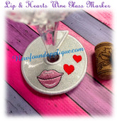 In The Hoop Lips N Heart Wine Glass Marker Embroidery Machine Design