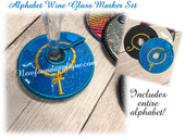 In The Hoop Alphabet Wine Marker EMbroidery Machine Design Set