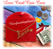 In The Hoop Love Card Coin Purse Case Embroidery Machine Design