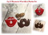 In The hoop Lip & Mustache Wine Glass Marker Embroidery Machine Design Set
