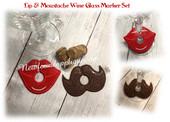 In The hoop Lip & Mustache Wine Glass Marker Embroidery Machine Design Set