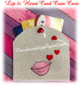 In The Hoop Lip & Heart Card Coin Case Embroidery Machine Design