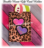 In The Hoop Double Heart Gift Card Holder Embroidery Machine Design