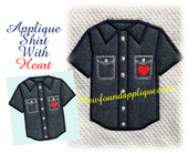 Shirt Applique With Heart Embroidery Machine Design Applique