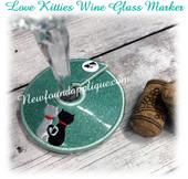 In The Hoop Love Kitties Wine Glass Marker Embroidery Machine Design