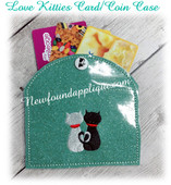 In The Hoop Love Kitties Card Coin Case Embroidery Machine Design