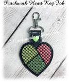 In The Hoop Patchwork Heart Key Fob Embroidery Machine Design