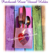 In The Hoop Patchwork Heart Utensil Pocket EMbroidery Machine Design