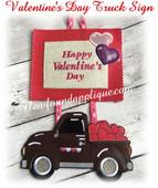 In The Hoop Valentine's Day Truck Door Sign Embroidery Machine Design