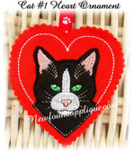 In The Hoop Cat #1 Heart Ornament Embroidery Machine Design