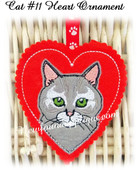 In The Hoop Cat #11 Heart Ornament Embroidery Machine Design