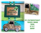 In The Hoop St. Patrick's Day Truck Door Sign Embroidery Machine Design