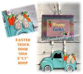 In The Hoop Easter Truck Door Sign Embroidery Machine Design