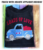 Loads Of Love Truck With Hearts Applique Embroidery Machine Design