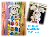 In The Hoop Bunny Towel Holder Embroidery Machine Design