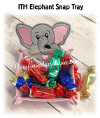 In The Hoop Peeking Elephant Snap Tray Embroidery Machine Design