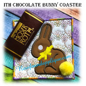 In The Hoop Chocolate Bunny Coaster Embroidery Machine Design