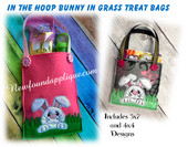 In The Hoop Bunny In Grass Treat Bag Embroidery Machine Design