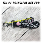 In The Hoop #1 Principal Key Fob Embroidery Machine Design