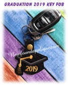 In The Hoop Graduation 2019 Snap Key Fob Embroidery Machine Design
