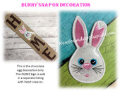 In The Hoop Bunny Snap On Decoration Embroidery Machine Design