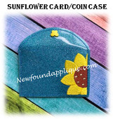 In The Hoop Sunflower Coin Card Case EMbroidery Machine Design
