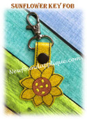 In The Hoop Sunflower Snap Key Fob Embroidry Machine Design