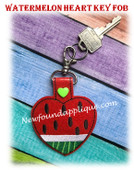 In The Hoop Heart Watermelon Key Fob Embroidery Machine Design