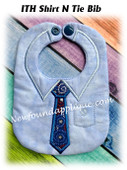 In The Hoop Shirt N Tie Bib Embroidery Machine Design